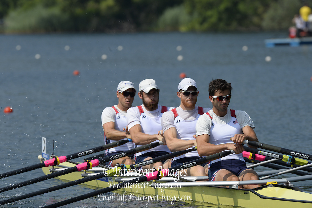 Lucerne. Switzerland. USA M4X, Bow JThomas GRAVES, Sam STITT, Matthew MILLER and William COWLES, at the start of the men's Quadruple Sculls, at the FISA WC III. 11:48:05  Friday  12/07/2013  [Mandatory Credit, Peter Spurrier/ Intersport Images] Lake Rotsee,
