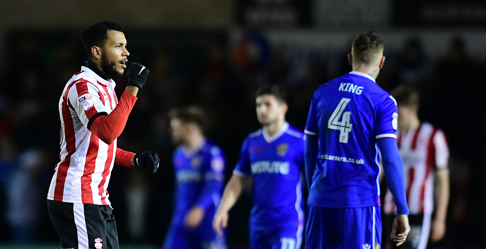 Lincoln City's Matt Green acknowledges the fans after being substituted<br /> <br /> Photographer Chris Vaughan/CameraSport<br /> <br /> The EFL Sky Bet League Two - Lincoln City v Stevenage - Tuesday 26th December 2017 - Sincil Bank - Lincoln<br /> <br /> World Copyright © 2017 CameraSport. All rights reserved. 43 Linden Ave. Countesthorpe. Leicester. England. LE8 5PG - Tel: +44 (0) 116 277 4147 - admin@camerasport.com - www.camerasport.com
