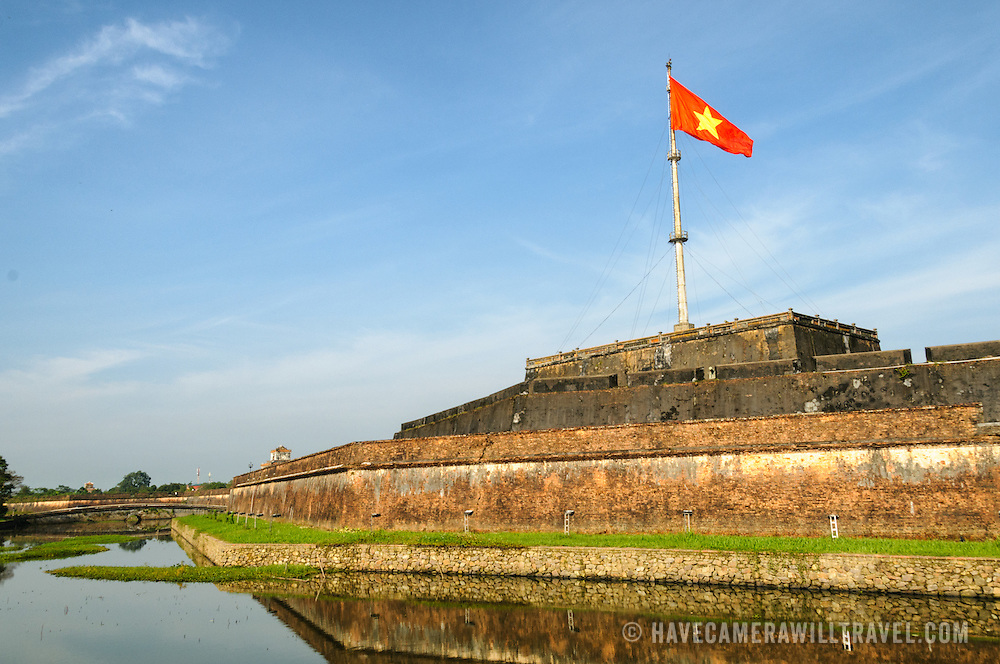 The moat surrounding the Imperial City in Hue, Vietnam. A self-enclosed and fortified palace, the complex includes the Purple Forbidden City, which was the inner sanctum of the imperial household, as well as temples, courtyards, gardens, and other buildings. Much of the Imperial City was damaged or destroyed during the Vietnam War. It is now designated as a UNESCO World Heritage site.