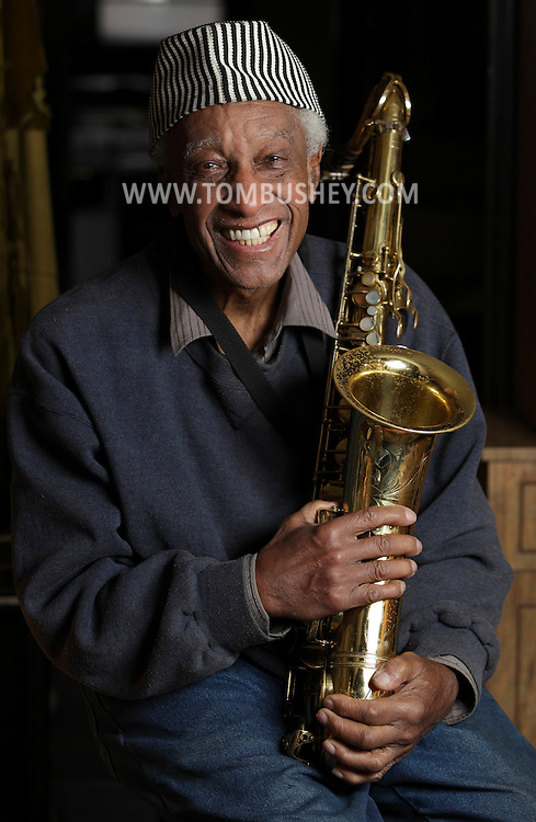 Jazz saxophonist Hugh Brodie poses for a portrait in his home in Harris on Monday, March 29, 2010. He will be playing at the Falcon in Marlboro on Saturday.