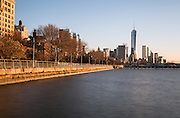 View along the Hudson Rive towards the Freedom Tower and Downtown, in New York's Manhattan Island