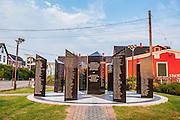 Fishermen's Memorial in the old Town Lunenburg, Unesco world heritage sight, Nova Scotia, Canada, USA