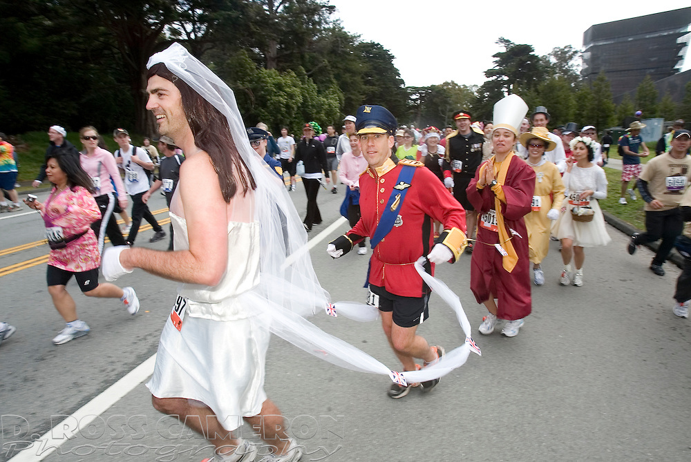 Runners spoof the recent royal wedding as they pass through Golden Gate Park during the 100th running of the Bay to Breakers 12K in San Francisco, Sunday, May 15, 2011. (Photo by D. Ross Cameron)