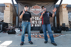 Willie G. Davidson and Bill Davidson at the Harley-Davidson Editor's Choice Custom Bike Show during the annual Sturgis Black Hills Motorcycle Rally.  SD, USA.  August 8, 2016.  Photography ©2016 Michael Lichter.