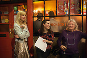 ANNA BADDELEY; FLEUR MACDONALD; LYNN BARBER, The Omnivore hosts the third Hatchet  Job of the Year Award. Sponsored by the Fish Society.  The Coach and Horses. Greek st. Soho. London. 11 February 2014.
