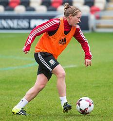 NEWPORT, WALES - Monday, September 19, 2016: Wales' Rachel Rowe warms up ahead of the UEFA Women's Euro 2017 Qualifying Group 8 match at Rodney Parade. (Pic by Laura Malkin/Propaganda)