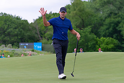May 9, 2019 - Dallas, TX, U.S. - DALLAS, TX - MAY 09: Tony Romo waves to the gallery after making birdie on the first hole during the first round of the AT&T Byron Nelson on May 9, 2019 at Trinity Forest Golf Club in Dallas, TX. (Photo by Andrew Dieb/Icon Sportswire) (Credit Image: © Andrew Dieb/Icon SMI via ZUMA Press)