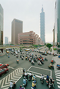 Traffic on the streets of Taipei.