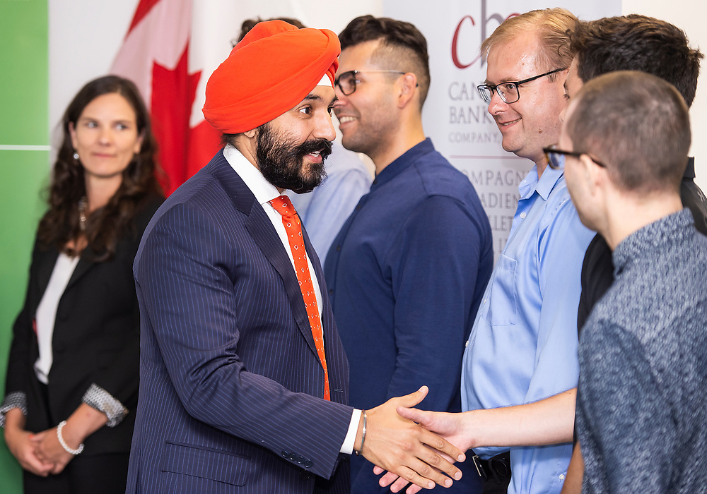 OTTAWA - JULY 10: Innovation Minister Navdeep Bains and CBN NANO Technologies announce a $40M investment from the Federal Government at their Gladstone Road Plant in Ottawa, ON. on July 10, 2019.<br /> <br /> Photo: Steve Kingsman for CBN -  For CBN usage ONLY. (www.stevekingsman.com)