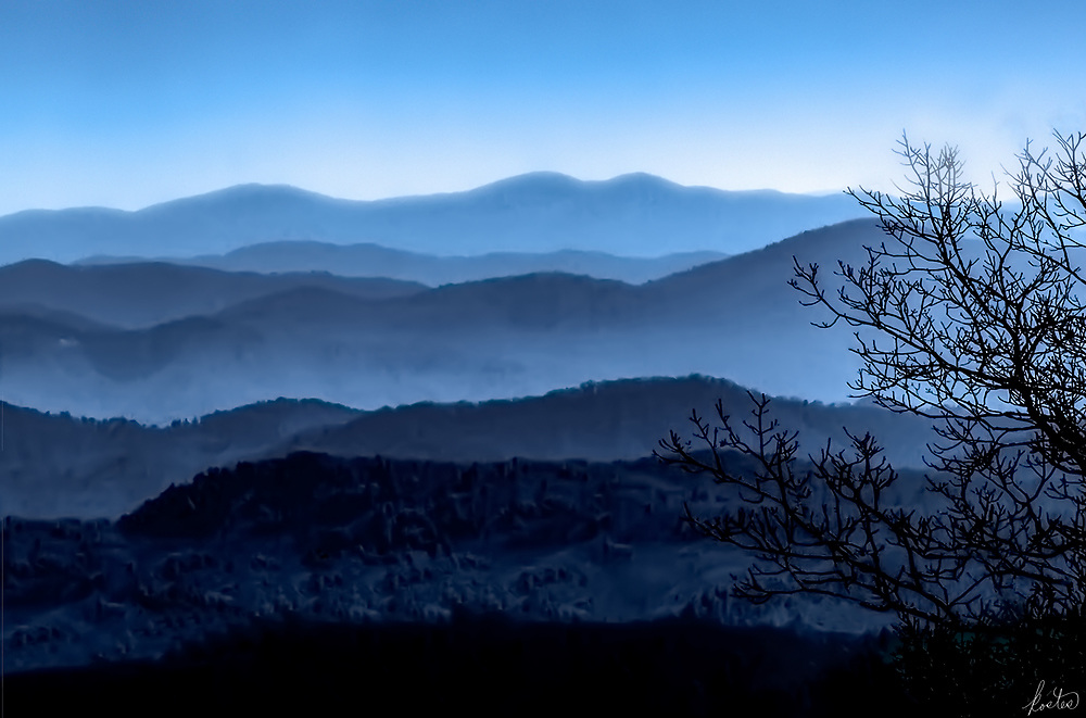 Landscape of the Blue Ridge Mts. in the early morning before the mists have dissipated.