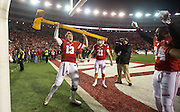 Wisconsin quarterback Bart Houston (13) celebrates with the  Paul Bunyan's Axe after Wisconsin beat Minnesota 31-17 in an NCAA college football game. (AP Photo/Andy Manis)