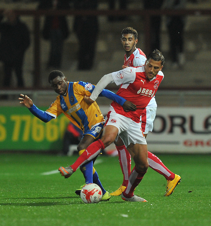 Fleetwood Town's Antoni Sarcevic battles with Shrewsbury Town's Larnell Cole<br /> <br /> Photographer Dave Howarth/CameraSport<br /> <br /> Football - Johnstone's Paint Trophy Northern Section Second Round - Fleetwood Town v Shrewsbury Town - Tuesday 6th October 2015 - Highbury Stadium - Fleetwood<br />  <br /> © CameraSport - 43 Linden Ave. Countesthorpe. Leicester. England. LE8 5PG - Tel: +44 (0) 116 277 4147 - admin@camerasport.com - www.camerasport.com