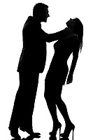 one caucasian couple man strangulate woman expressing domestic violence in studio silhouette isolated on white background