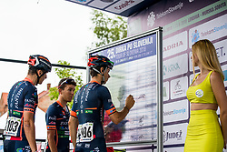 Damiano Cima of Nippo Vinni Fantini Europa Ovini, Nicola Bagioli of Nippo Vinni Fantini Europa Ovini, Marco Canola of Nippo Vinni Fantini Europa Ovini and hostess Tonja during 1st Stage of 25th Tour de Slovenie 2018 cycling race between Lendava and Murska Sobota (159 km), on June 13, 2018 in  Slovenia. Photo by Matic Klansek Velej / Sportida