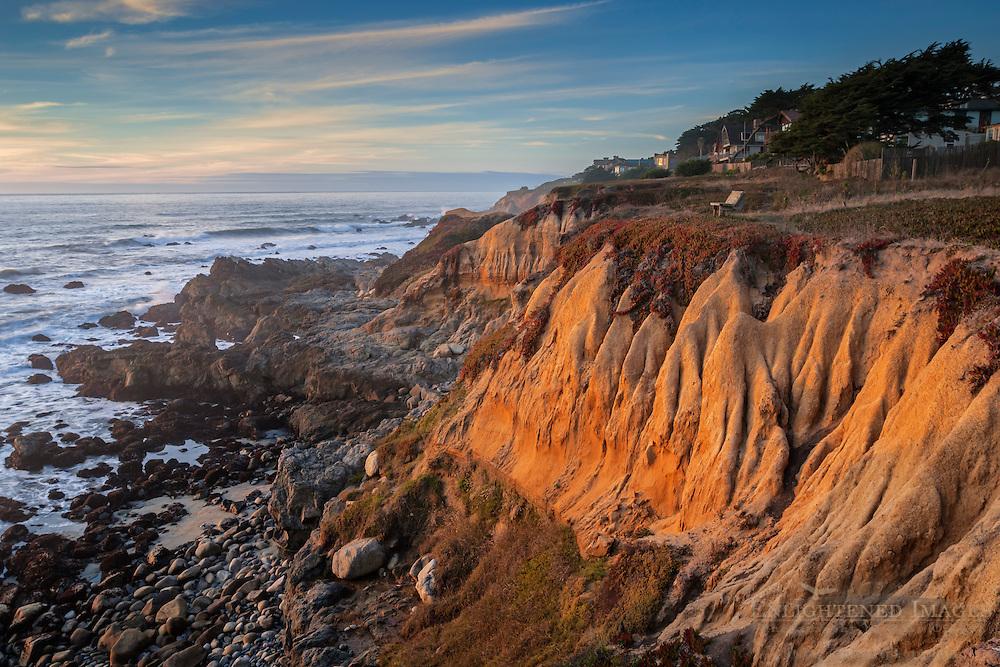Sunset light on eroded cliffs at Moss Beach, San Mateo County coast, California