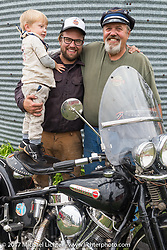 Carl Olsen of Carl's Cycle with his son Matt and grandson Lock. Aberdeen, SD. USA. Sunday October 8, 2017. Photography ©2017 Michael Lichter.