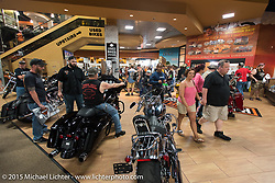 Inside Destination Daytona Harley-Davidson during Daytona Beach Bike Week 2015. FL, USA. Tuesday March 10, 2015.  Photography ©2015 Michael Lichter.