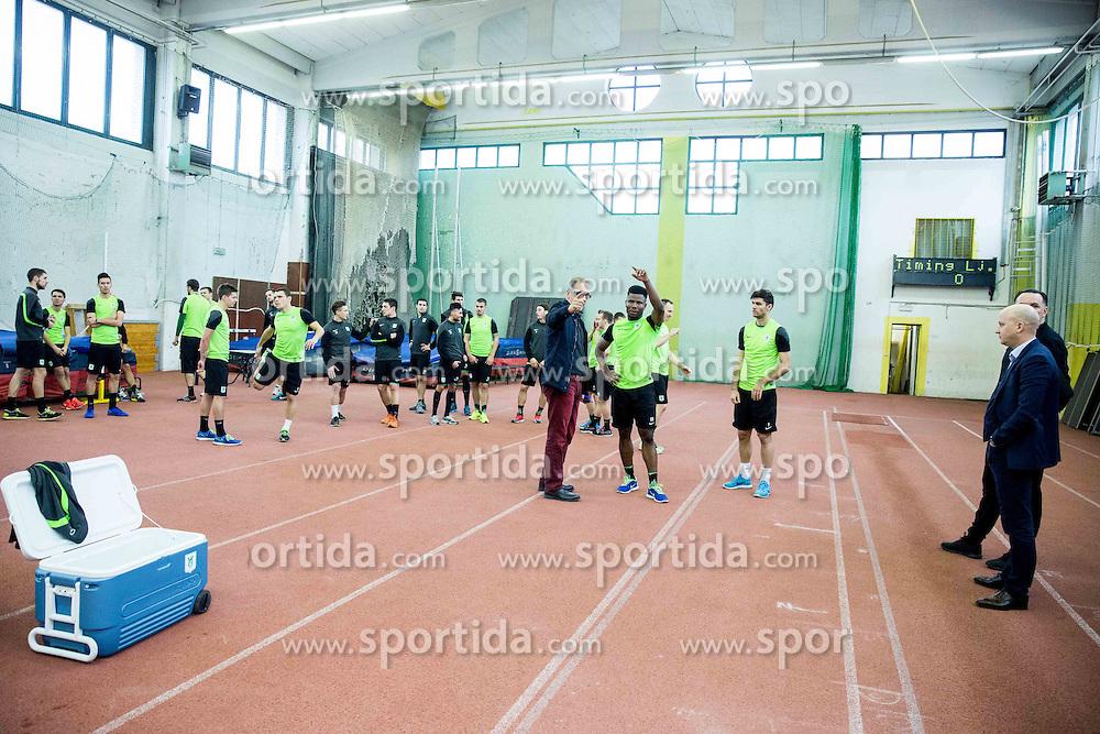 Srdjan Djordjevic and Ezekiel Isoken Henty during first training of NK Olimpija Ljubljana before spring season when presented Olimpija's new coach, on January 11, 2016 in ZAK stadium, Ljubljana, Slovenia. Photo by Vid Ponikvar / Sportida