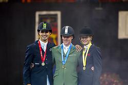 Podium, Ehning Markus, Rodrigo Pessoa, Malin Baryard<br /> World Cup Final Jumping - Las Vegas 2003<br /> © Hippo Foto - Dirk Caremans
