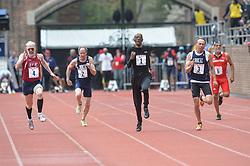 April 27, 2018 - Philadelphia, Pennsylvania, U.S - OSCAR PEYTON (1) leads DEVID E ORTMAN (4) RICK LAPP (2) MICHAEL KISH (3) and TERRANCE SKINNER (5) in the Masters Men's 100m dash 65+ at Franklin Field in Philadelphia, Pennsylvania. (Credit Image: © Amy Sanderson via ZUMA Wire)