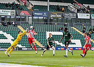 Plymouth Argyle Goalkeeper Michael Cooper (1) makes a flying save  beforeSunderland Forward Ross Stewart (31) during the EFL Sky Bet League 1 match between Plymouth Argyle and Sunderland at Home Park, Plymouth, England on 1 May 2021.