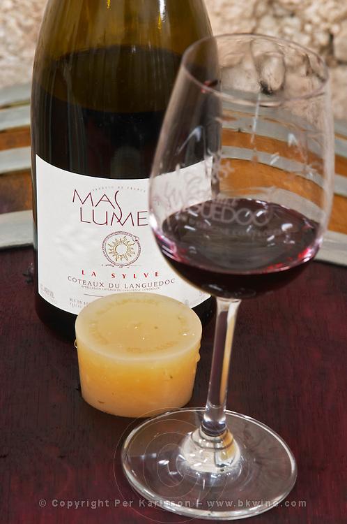 Cuvee La Sylve 2003. Domaine Mas Lumen in Gabian. Pezenas region. Languedoc. Barrel cellar. France. Europe. Bottle. Wine glass.
