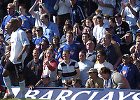 Fotball<br /> England 2004/2005<br /> Foto: SBI/Digitalsport<br /> NORWAY ONLY<br /> <br /> Portsmouth v Bolton, Barclays Premiership, 07/05/2005. <br /> <br /> Bolton's El-Hadji Diouf takes plenty of abuse from the pompy supporters.