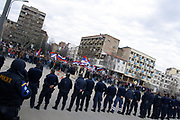 """SERBS STONED POLICE IN NORTHERN MITROVICA<br /> Mitrovica, Kosovo<br /> Friday, February 22, 2008<br /> Cheering """"Kosova is Serbia-Kosovo is heart of Serbia"""" and with flags of Serbia and countries who oppose recognizing the state of Kosova, on Friday nearly more than 3.000 Serbs in northern Mitrovica protested against the independence of Kosova. <br /> So close to mitrovica bridge, they throw stones and fire-crackers on the police line, which line where placed on the Mitrovica bridge<br /> PICTURED: First line police officer's are KPS (Kosovo Police Service) they are Serbian KPS members, they are face to face with Angry Serbian protestors against Kosovo independence, which independence will take juridical basis of Special Envo of UN security Council Marthi Ahtisaari."""