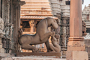India, Khajuraho, horse sculpture in a temple