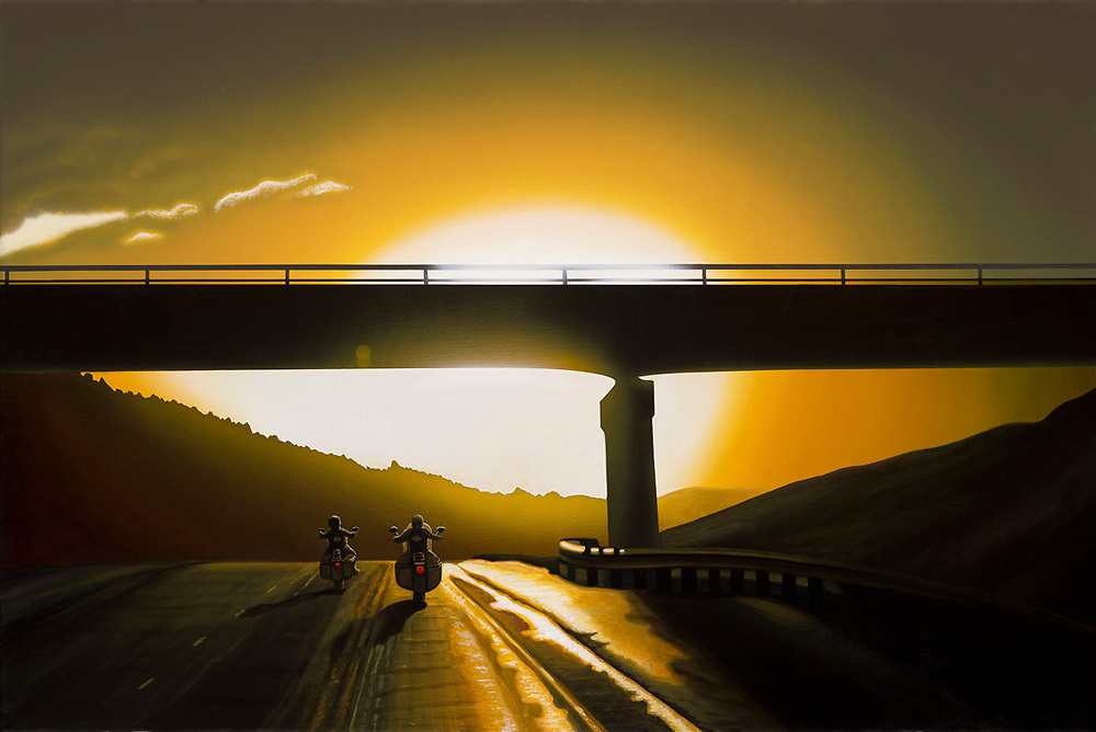 """""""Some Ride Sunset""""<br /> Painting by Scott Jacobs 2010<br /> <br /> A couple rides west on the I-90 between Whitewood<br /> and Spearfish after a summer thunderstorm."""