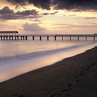 Hawaii, Kauai, Waimea Landing State Recreational Pier, Waimea Town, Kauai at Sunset