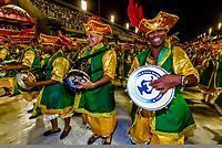 Carnaval parade of Academicos do Sossego samba school in the Sambadrome, Rio de Janeiro, Brazil.