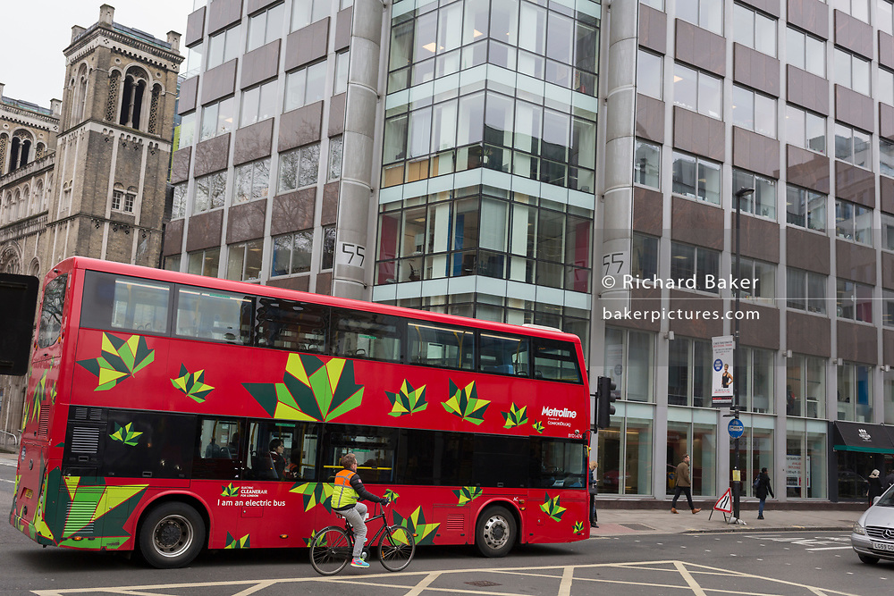 The day after Facebook's Mark Zuckerberg faced Senate Committee questions in Washington, a London bus drives past the offices of Cambridge Analytica on New Oxford Street, the UK tech company accused of harvesting the personal details of Facebook users (including Zuckerberg himself) in its data privacy scandal, on 11th April, 2018, in London, England.