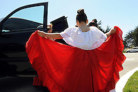 Girls from Ballet Folklorico of the International School of Monterey prepare  on Sunday for their performance at Cinco de Seaside.