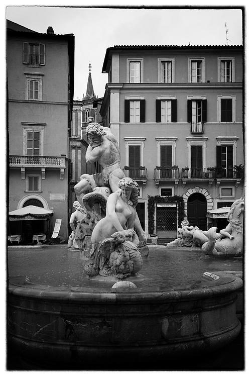 The Fountain of Neptune (Fontana del Nettuno) in Piazza Navona in Rome, Italy.