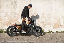 Danny Schneider of Hard Nine Choppers in Bern, Switzerland riding his Custom Chrome Europe 2018 Parts Bike at Motor Bike Expo. Verona, Italy. Saturday January 20, 2018. Photography ©2018 Michael Lichter.