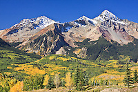 Sunshine Mountain and 14,017 ft. Wilson peak of the San Miguel Mountains along the San Juan Scenic Byway near Telluride, Colorado.