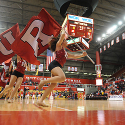 Cheerleaders take the court before first half Big East NCAA women's basketball action between Rutgers and West Virginia at the Louis Brown Rutgers Athletic Center