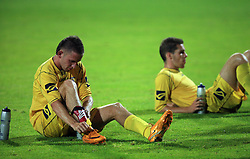 Janez Aljancic  (3) of Domzale and Luka Zinko  (23) of Domzale resting after second halftime at Slovenian Supercup between NK Domzale and NK Interblock, on July 9, 2008, in Domzale. Interblock won the mach and Supercup 7:6 after penalty shots.. (Photo by Vid Ponikvar / Sportal Images)