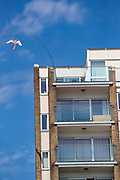 A Kite is seen attached to a balcony in Southend on Sea as heatwave hits England on Wednesday, Jun 2, 2021. It was the third day this week that the record for the hottest temperature of 2021 has been broken British tabloids say. (Photo by Vudi Xhymshiti)