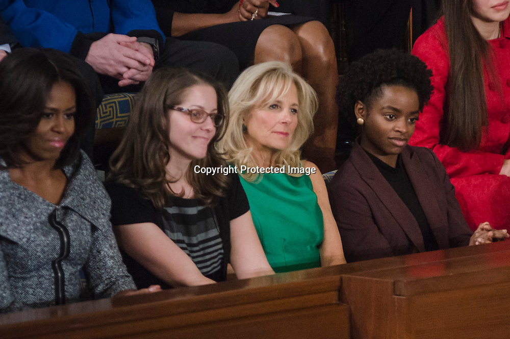 Chelsey Davis of Knoxville and a student at Pellissippi State Community College listens as President Barack Obama speaks during his sixth State of the Union in the House of Representative chambers in the US Capitol in Washington DC on January 20, 2015. In May 2015, Chelsey will graduate from Pellissippi State Community College with plans to pursue a B.A. in Nutritional Science. Chelsey currently serves on the Student Activities Board and as a New Student Orientation Leader at her community college. Photo by Kris Connor