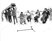 Not the Amadeus String Quartet. Dangerous Sports Club Ski Race St.Moritz 1983.© Copyright Photograph by Dafydd Jones 66 Stockwell Park Rd. London SW9 0DA Tel 020 7733 0108 www.dafjones.com