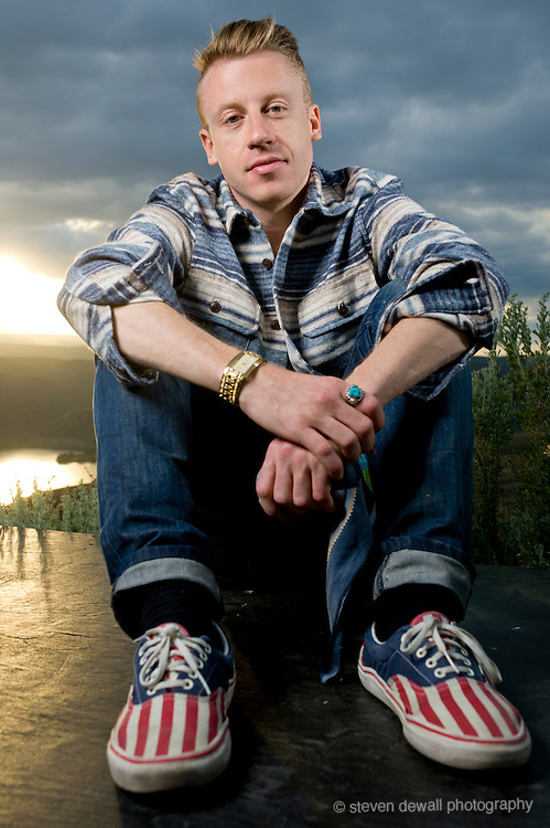 George, WA. - May 25th, 2012 Macklemore poses for a portrait backstage at the Sasquatch Music Festival in George, WA. United States