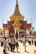 03 FEBRUARY 2013 - PHNOM PENH, CAMBODIA:   Cambodians visit the crematorium of former King Norodom Sihanouk to pay their final respects. Sihanouk ruled Cambodia from independence in 1953 until he was overthrown by a military coup in 1970. The only music being played publicly is classical Khmer music. Sihanouk died in Beijing, China, in October 2012 and will be cremated during a state funeral royal ceremony on Monday, Feb. 4.   PHOTO BY JACK KURTZ
