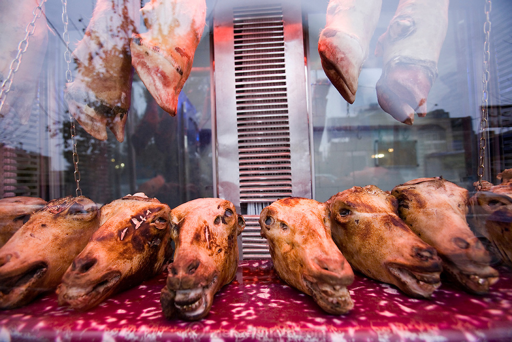 Sheep heads are displayed in a butchery window at dusk in the old city of Yazd, Iran. Sheep heads are cooked into soup and eaten regularly, often on the weekends.