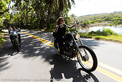 Kissa Von Adams on her custom Evo riding in Tomoka State Park during Daytona Bike Week. FL. USA. Sunday March 18, 2018. Photography ©2018 Michael Lichter.