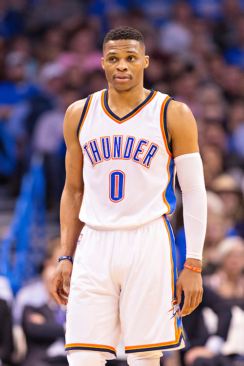 OKLAHOMA CITY, OK - JANUARY 13:  Russell Westbrook #0 of the Oklahoma City Thunder on the court during a game against the Dallas Mavericks at Chesapeake Energy Arena on January 13, 2016 in Oklahoma City, Oklahoma.  NOTE TO USER: User expressly acknowledges and agrees that, by downloading and or using this photograph, User is consenting to the terms and conditions of the Getty Images License Agreement.   The Thunder defeated the Mavericks 108-89.  (Photo by Wesley Hitt/Getty Images) *** Local Caption *** Russell Westbrook