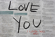 Messages of love written in marker pen on a public park sign containing local bylaws.