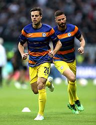 Chelsea's Cesar Azpilicueta (left) during the pre-match warm up ahead of the UEFA Europa League Semi final, first leg match at The Frankfurt Stadion, Frankfurt.