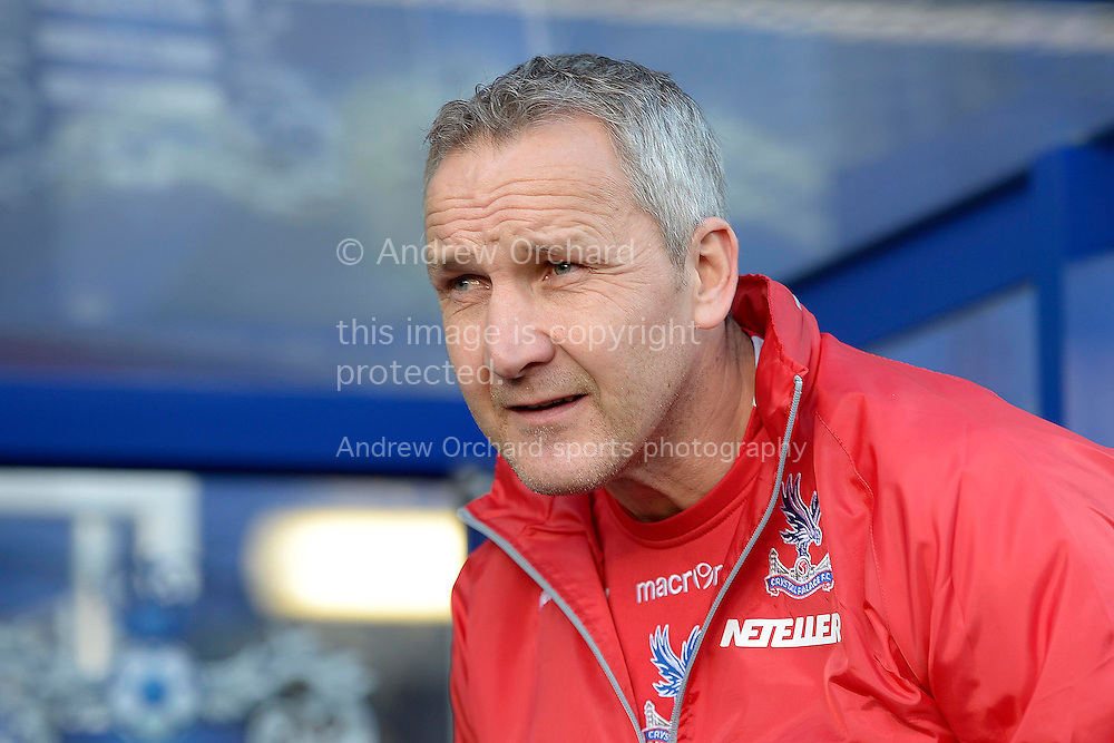 Keith Millen, caretaker manager of Crystal Palace arriving at the dugout before k/o. Barclays Premier league match, Queens Park Rangers v Crystal Palace at Loftus Road in London on Sunday 28th December 2014.<br /> pic by John Patrick Fletcher, Andrew Orchard sports photography.